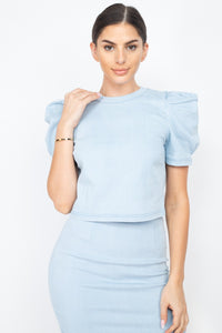 Puff Sleeves Round Neck Top And High Waist Skirt