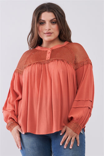 Plus Size Boho Sheer Net Mesh Balloon Sleeve Detail Relaxed Top