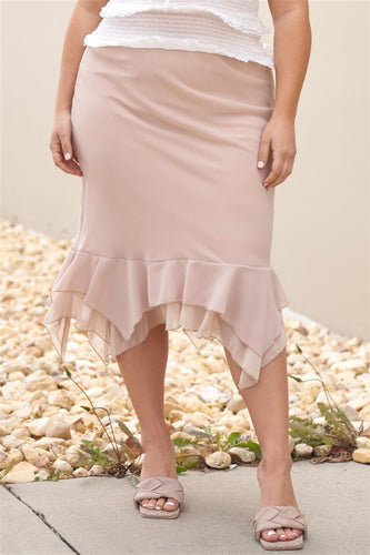 Plus Beige High-waisted Fitted Asymmetrical Flare Hem Midi Pencil Skirt