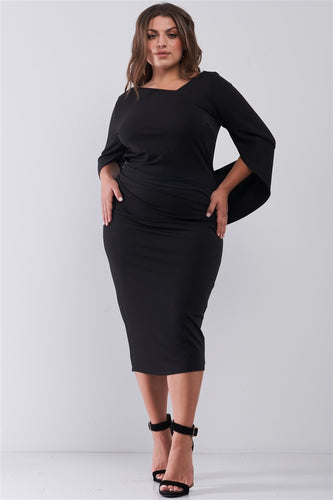 Plus Size Black Asymmetrical Neck Draped Sleeve & Back Detail Fitted Midi Dress