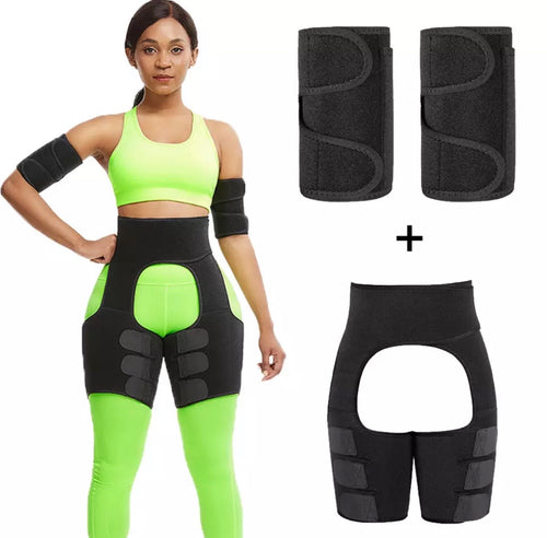 Fat Burning Stomach and Thigh Shaper w/Arm Shaper - Black