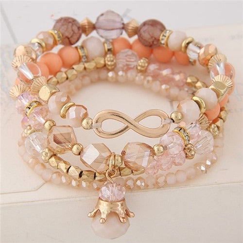 Peach and Crystal Infinity Bracelet Set