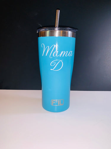 20 oz. Tumbler with Stainless Steel Straw and Dual Side Monogram