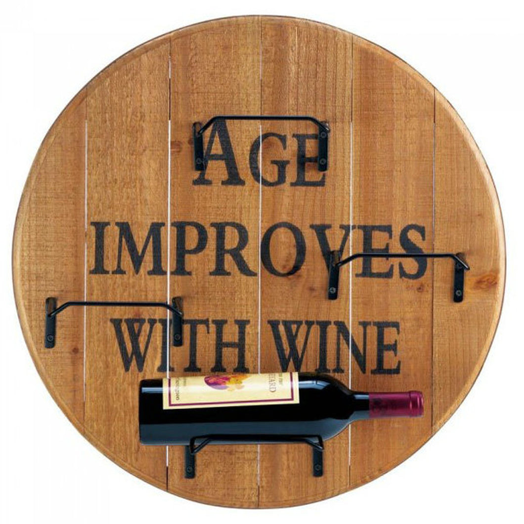 Age Improves With Wine Round Wood Wine Rack
