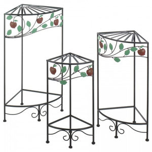 Country Apple Plant Stands - Set of 3