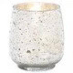 Distressed Silver Mercury Glass Candle Holder