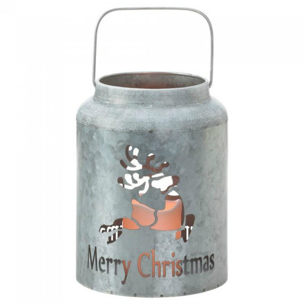 Galvanized Metal LED Candle Lantern - Merry Christmas