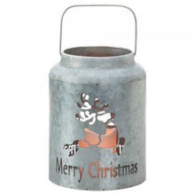Load image into Gallery viewer, Galvanized Metal LED Candle Lantern - Merry