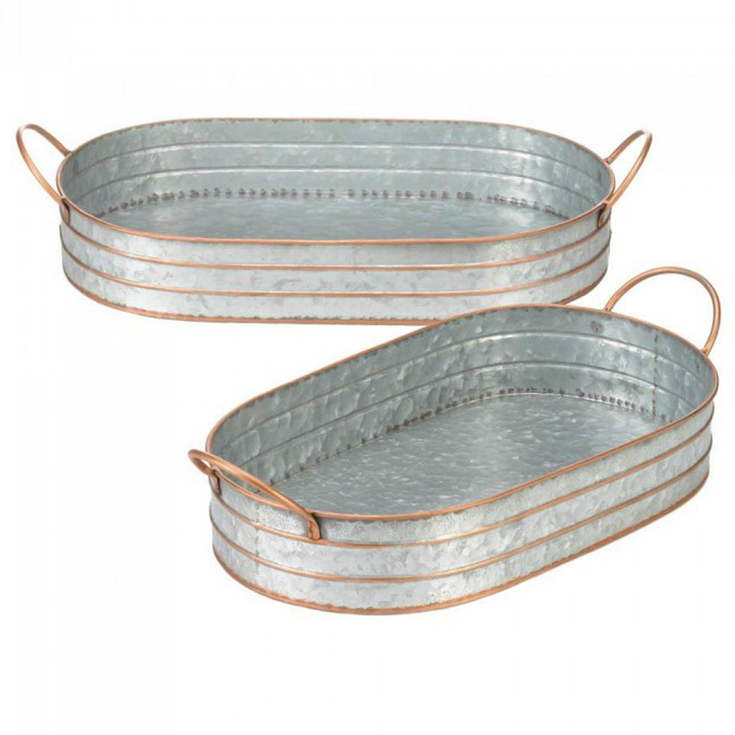 Galvanized Metal Oblong Tray Set