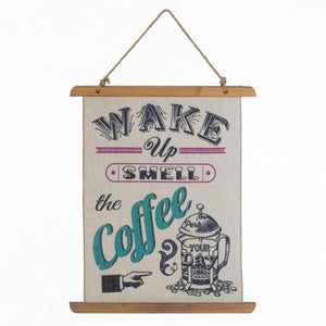 Linen Wall Art - Wake Up Smell the Coffee