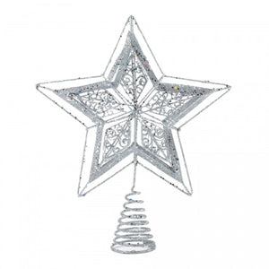 Metal Star Tree Topper - Sparkly Silver