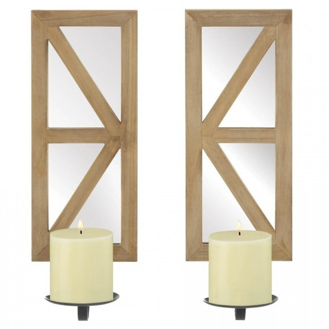 Mirrored Candle Sconce Set with Wood Frames