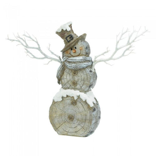 Rustic Birch Tree Snowman Figurine with Twig Lights