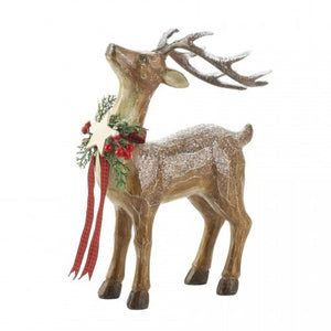 Rustic Reindeer Figurine - Looking Up
