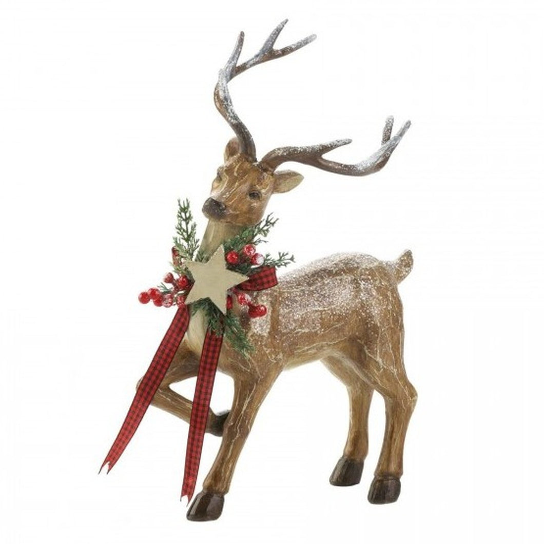 Rustic Reindeer Figurine - Looking Sideways