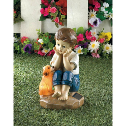 Solar Puppy and Boy Statue