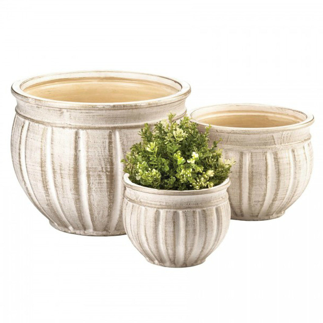 Stone-Look Ceramic Planter Set