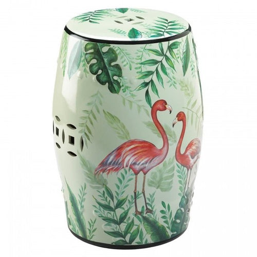 Tropical Flamingo Decorative Ceramic Stool or Side Table