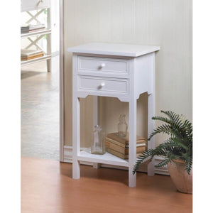 Two-Drawer White Side Table
