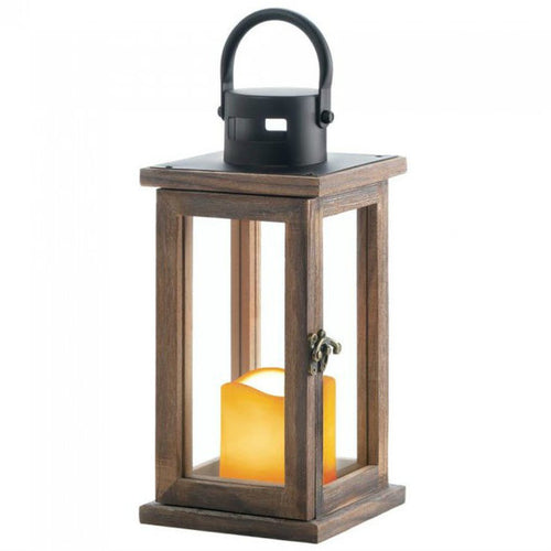 Wood Lantern with LED Candle - 11 inches