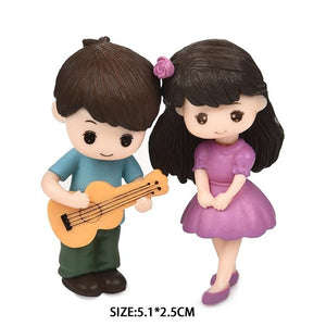 2pcs/Set New Arrival  Moon Couple PVC Romantic Figurines Craft Decorative Ornaments For Bonsai Home Table Decoration