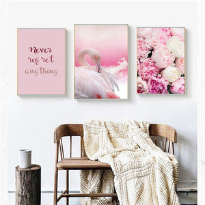 Flamingo Rose Pink Colorful Home Decor Nordic Canvas Girl Bedroom Living Room Picture Animal Flower Word Print Wall Art Painting