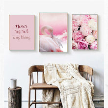 Load image into Gallery viewer, Flamingo Rose Pink Colorful Home Decor Nordic Canvas Girl Bedroom Living Room Picture Animal Flower Word Print Wall Art Painting