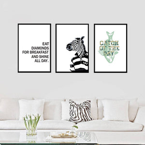 Nordic Black and White Animals Alphabet Abstract canvas painting Art Poster Decorative Painting Living Room kitchen word picture