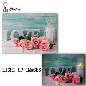 "Lighted led canvas print Word ""Love"" painted on wall rose candle painting wall picture canvas wall art spring decor dropship"