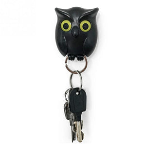 Black Night Owl Magnetic Wall Key Holder