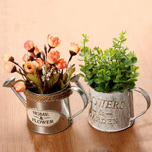 Load image into Gallery viewer, Vintage Metal Iron Flower Watering Barrel Retro Flower Succulent Pot Plant Bucket Home Ornaments Desktop Decoration Photo