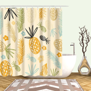 Large 180x200cm Bath cortinas Waterproof polyester fabric bath curtain pineapple print Shower curtain For bathroom curtain