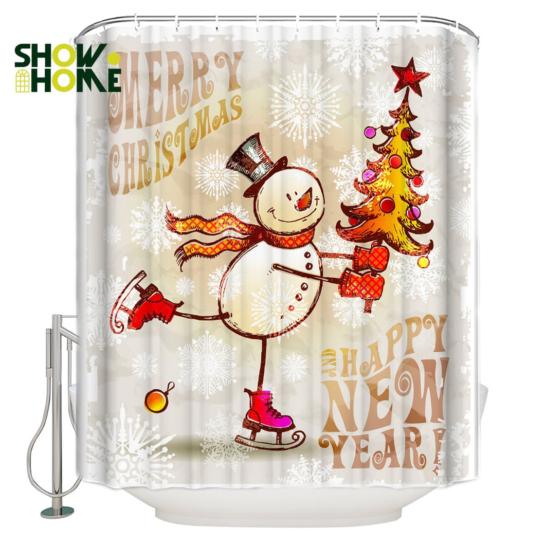 SHOWHOME Shower Curtain Happy New Year Merry Christmas Shower Curtain Bathroom Curtain Home Decoration