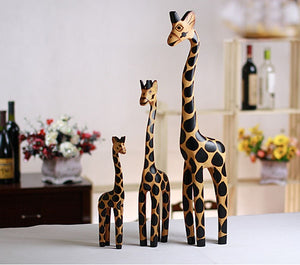 3pcs/bag Wood Carving Handicraft Creative Home Furnishing Articles Giraffe Wooden Giraffe Furnishing Articles Decorations
