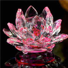 Load image into Gallery viewer, 80mm Quartz Crystal Lotus Flower  Crafts Glass Paperweight Fengshui Ornaments Figurines Home Wedding Party Decor Gifts Souvenir