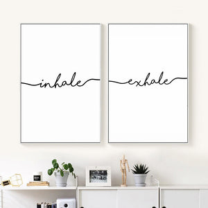 Inhale Exhale Nordic Poster Minimalist Canvas Art Prints Wall Art Painting Decorative Picture Living Room Decoration Home Decor
