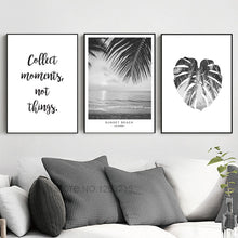 Load image into Gallery viewer, Sun Beach Leaf Landscape Word Art Print Posters And Prints Canvas Pictures For Living Room Wall Picture Nordic Poster Unframed