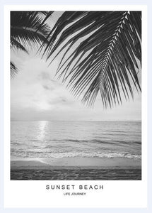 Sun Beach Leaf Landscape Word Art Print Posters And Prints Canvas Pictures For Living Room Wall Picture Nordic Poster Unframed