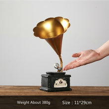 Load image into Gallery viewer, Retro Home Decoration Accessories Vintage Cafe Bar Decor Shabby Chic Resin Crafts Gramophone Pendulum Resin Cabochon