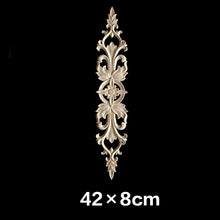 Load image into Gallery viewer, Unpainted Wood Oak Carved Wave Flower Onlay Decal Corner Applique for Home Furniture Decor Decorative Wood Carved Long Applique