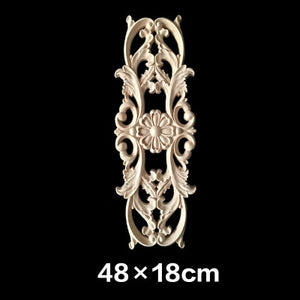 Unpainted Wood Oak Carved Wave Flower Onlay Decal Corner Applique for Home Furniture Decor Decorative Wood Carved Long Applique
