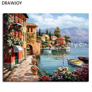 DRAWJOY Framed Pictures DIY Painting By Numbers Wall Art Acrylic Paintings Handpainted Home Decor For Living Room