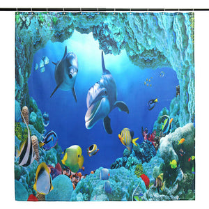 Ocean Dolphin Deep Sea Polyester Shower Curtain Bathroom Waterproof with 10 Hooks Pedestal Rug Lid Toilet Cover Bath Mat Set