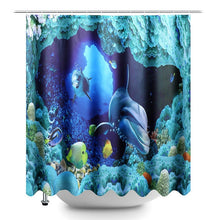 Load image into Gallery viewer, Ocean Dolphin Deep Sea Polyester Shower Curtain Bathroom Waterproof with 10 Hooks Pedestal Rug Lid Toilet Cover Bath Mat Set