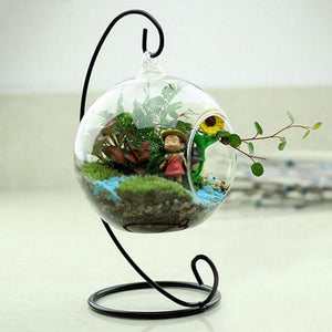 Fairy Garden Miniatures White Black Metal Iron Stand Air Plant Terrarium Planter Hanging Display Garden Home Decor Accessories