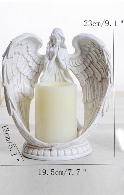 Creative Resin Angel Figurines Electronic Candlestick Crafts Home Deco Louric Amazing Decor