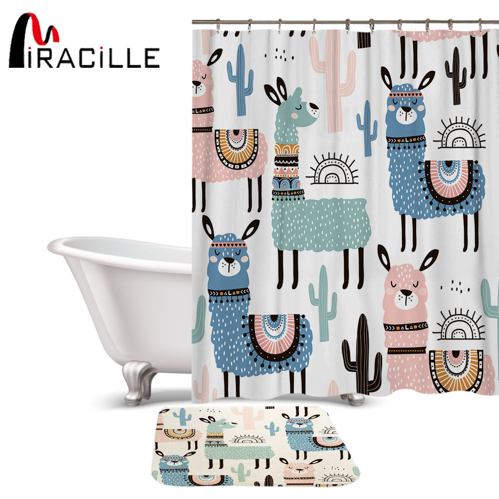 Miracille Lovely Cartoon Alpaca Pattern Polyester Waterproof Shower Curtains With Rectangle Non-slip Floor Mat Bath Curtain Set