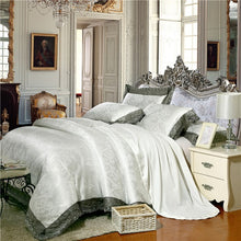Load image into Gallery viewer, White silver coffee jacquard luxury bedding set queen/king size bed set 4pcs cotton silk lace duvet cover Fitted/bed sheet sets