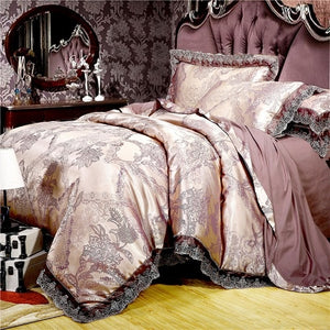White silver coffee jacquard luxury bedding set queen/king size bed set 4pcs cotton silk lace duvet cover Fitted/bed sheet sets