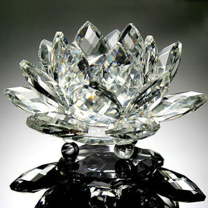 Creative 3D Lotus Crystal Glass Home Decoration Paperweight Ornament Feng Shui Flower Decor Collection Adornment A65